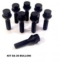 20 BULLONE RUOTA CONICO DIAMETRO 12X1,25 CHIAVE 17 LUNGHEZZA 55MM ZINCATO NERO