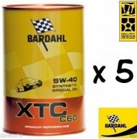 BARDAHL XTC 5W40,C60, OLIO MOTORE 100% SINTETICO AUTO A BENZINA E DIESEL 5 LITRI