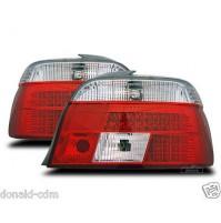 FANALI POSTERIORI A LED BMW SERIE 5,E 39 DAL 1995 AL1999,BERLINA, ROSSO/CROMO