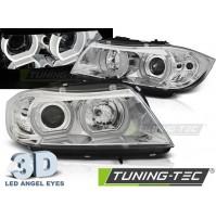 FARI ANTERIORI U-LED LIGHT ANGEL EYES 3D CHROME BMW E90/E91 03.05-08.08