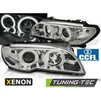 FARI ANTERIORI XENON ANGEL EYES 3D CHROME BMW E46 04.03-06 COUPE CABRIO