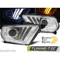 Fari anteriori FORD MUSTANG V 10-13 TUBE LIGHT CHROME,FRECCIA DINAMICA.NO CEE.