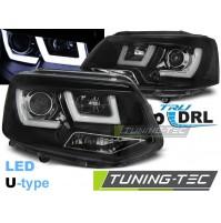 Fari anteriori VW T5 DAL 2010-AL 2015 U-TYPE BLACK, LUCI DIURNE A LED omologati