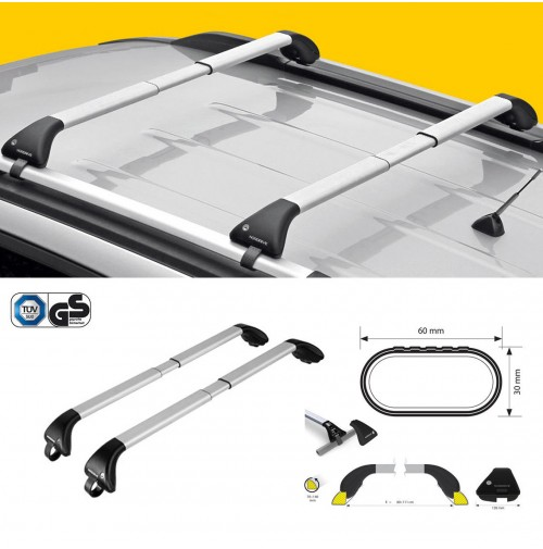 KIT 2x BARRE PORTATUTTO IN ALLUMINIO TELESCOPICHE PER AUDI A6 ALLROAD (2012->)