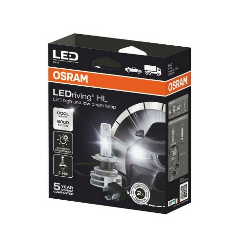 Kit conversione a LED H4 Originale OSRAM, 14W-6000K veicoli 12V e 24V kit 2 pz.